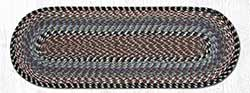 Burgundy, Blue, and Gray Cotton Braid Tablerunner - 36 inch