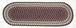 Burgundy, Gray, and Creme Cotton Braid Tablerunner - 36 inch
