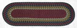 Burgundy, Olive, and Charcoal Cotton Braid Tablerunner - 36 inch