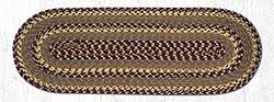 Burgundy, Gray, and Mustard Cotton Braid Tablerunner - 36 inch