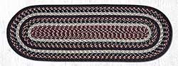 Burgundy, Black, and Tan Cotton Braid Tablerunner - 36 inch