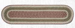 Olive, Burgundy, and Gray Cotton Braid Tablerunner - 48 inch