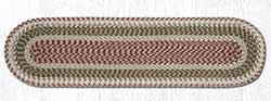 Olive, Burgundy, and Gray Cotton Braid Tablerunner - 48 inch