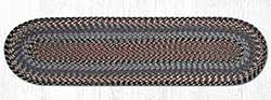 Burgundy, Blue, and Gray Cotton Braid Tablerunner - 48 inch