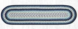Blueberry and Creme Cotton Braid Tablerunner - 48 inch