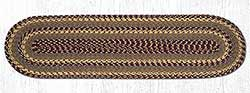 Burgundy, Gray, and Mustard Cotton Braid Tablerunner - 48 inch