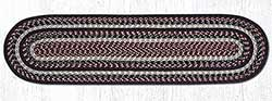 Burgundy, Black, and Tan Cotton Braid Tablerunner - 48 inch