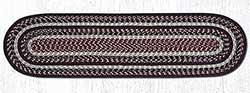 Burgundy, Black, and Tan Cotton Braid Tablerunner - 48 inch