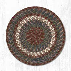 Burgundy and Gray Cotton Braid Chair Pad