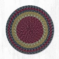 Burgundy, Olive, and Charcoal Cotton Braid Chair Pad