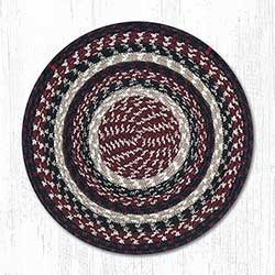 Burgundy, Black, and Tan Cotton Braid Chair Pad