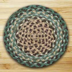Dark Green Braided Tablemat - Round