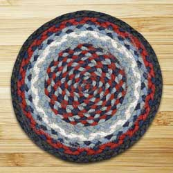 Blue and Burgundy Braided Tablemat - Round