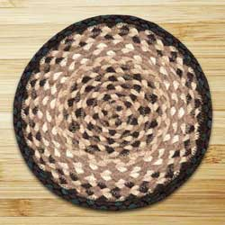 Chocolate and Natural Braided Tablemat - Round