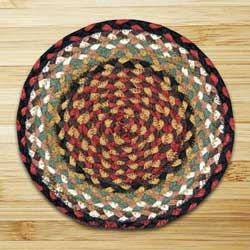 Burgundy and Mustard Braided Tablemat - Round