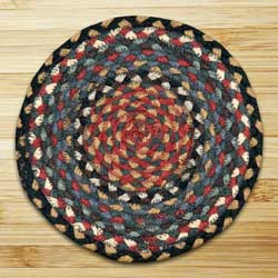 Burgundy, Blue, and Gray Braided Tablemat - Round