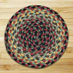 Burgundy, Black, and Sage Braided Tablemat - Round