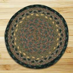 Brown, Black, and Charcoal Braided Tablemat - Round