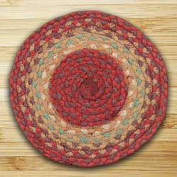 Burg and Maroon and Sunflower Braided Tablemat - Round