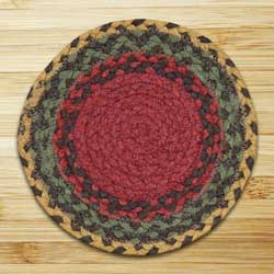 Burgundy, Green, and Sunflower Braided Tablemat - Round