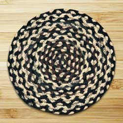 Ebony, Ivory, and Chocolate Braided Tablemat - Round
