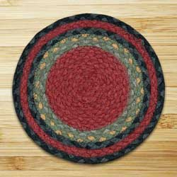 Burgundy, Olive, and Charcoal Braided Tablemat - Round