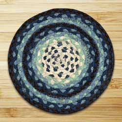 Blueberry and Creme Braided Tablemat - Round
