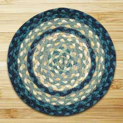 Breezy Blue, Taupe, and Ivory Braided Tablemat - Round