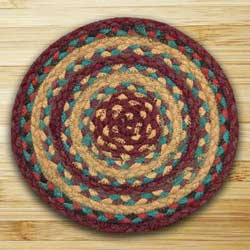 Marigold and Wine Braided Tablemat - Round