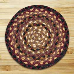 Black Cherry, Chocolate, and Cream Braided Tablemat - Round