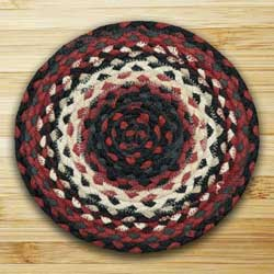 Black and Ivory and Country Red Braided Tablemat - Round