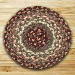 Revere Green and Barn Red Braided Tablemat - Round