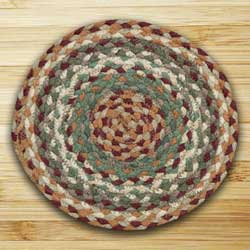Buttermilk and Cranberry Braided Tablemat - Round
