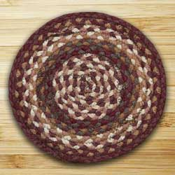 Mulberry and Ivory and Brownstone Braided Tablemat - Round