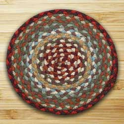 Thistle Green and Country Red Braided Tablemat - Round