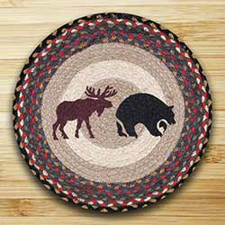 Black Bear and Moose Braided Jute Chair Pad