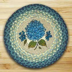 Blue Hydrangea Printed Chair Pad