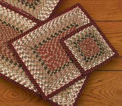 Burgundy and Mustard Square Braided Trivet