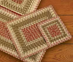 Olive, Burgundy, and Gray Square Braided Trivet