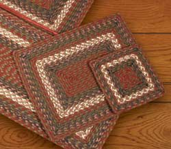 Burgundy and Gray Square Braided Trivet