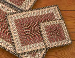 Burgundy, Gray, and Creme Square Braided Trivet