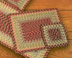 Burgundy, Black, and Sage Square Braided Trivet