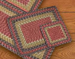 Burgundy, Olive, and Charcoal Square Braided Trivet