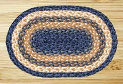 Light Blue, Dark Blue, and Mustard Braided Jute Placemat