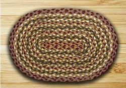 Olive, Burgundy, and Gray Braided Jute Placemat