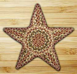 Olive, Burgundy, and Gray Braided Star Trivet