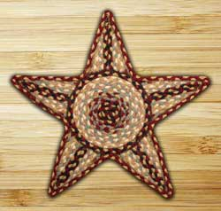 Burgundy, Gray, and Creme Braided Star Trivet