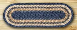 Light Blue, Dark Blue, and Mustard Jute Tablerunner - 36 inch
