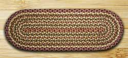 Olive, Burgundy, and Gray Jute Tablerunner - 36 inch