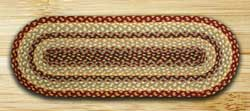 Burgundy, Gray, and Creme Jute Tablerunner - 36 inch